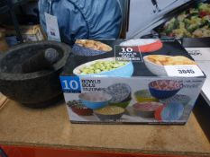 Box of Signature serving bowls, plus a pestle & mortar set