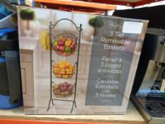 Boxed 3 tier fruit basket stand
