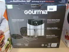 A boxed Gourmet digital air fryer