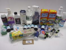 Body wash, White vinegar, mould remover, oven cleaner, essential oils, paint, disinfectant etc