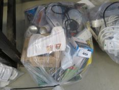 Bag containing paint, spray, compressors, extension leads etc.