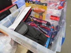 4436 Plastic crate containing wire strippers, solder torch, motion sensors, mirrors etc.