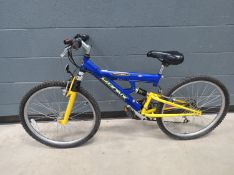 Bronx blue and yellow suspension mountain bike