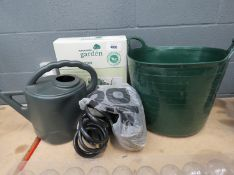 Watering can, green trug, paraffin heater and a Suzy hose