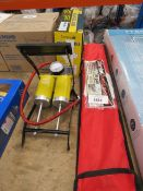 Vehicle tow bar, motorcycle cover and tyre pump