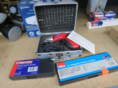 Cordless screwdriver set, digital depth gauge and Vernier caliper