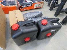 Two oil catchers, car mats and red cantilever tool box