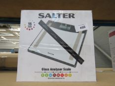 Three boxed Salter glass analyzer scales