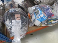 2 bags containing door piston pump, soldering stations, air compressors, cables, extension leads,