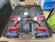 Duratool twin drill and impact drive kit with 2 batteries and charger