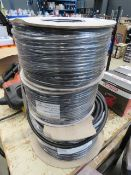 3 reels of black PVC cable