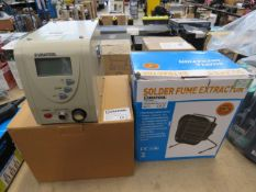 Duratool soldering station and solder fume extractor