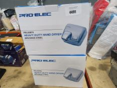 2 boxed heavy duty hand dryers
