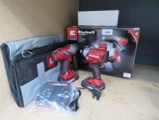 Einhell drill and impact drive set with 2 batteries, charger and bag