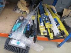 ¼ underbay of car related items incl. wiper blade, wash brushes, chamois leathers etc.