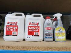 5 x 4.55L bottles of 2050 motor oil and 3 x small 10W40 motor oil
