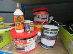 3 tubs of GeoFix jointing compound, Gorilla glue, floor paint and some liquid roof