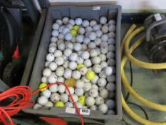 Shallow tray of mixed branded golf balls (used)