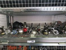 Shelf containing large quantity of modern fishing reels incl. Penn, Sport Fisher, Dipper Sunridge,