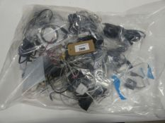 Bag containing quantity of leads, cables, adapters and PSUs