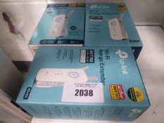 3 boxed TP Link wifi range extenders model AC1750