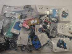 Bag containing quantity of various mobile phone accessories; cables, adapters, leads, earphones,