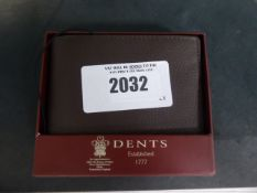 Dents gents brown leather wallet with box