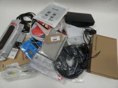 Bag of remotes, cabling and mixed electricals