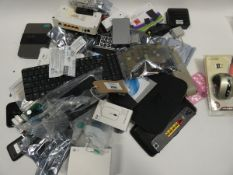 Bag containing electronic related items and accessories; remotes, routers, spares, PC mice, portable