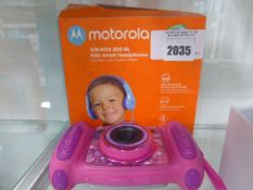 Motorola Squad 200BL kids wired headphones in box with Kidizoom V-Tech camera