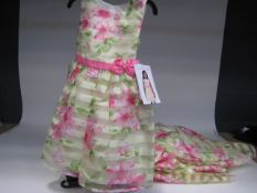 9 Jonah Mitchell girls party dresses in yellow and decorated with pink flowers, pink sash and bow