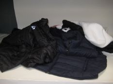 Approx 8 quilted and fleece jackets and gilets made by Gerry 32 degree heat, Fila, Kirkland, etc,
