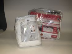 Bagged Dreamland heated blanket together with a bagged super king size 6 piece bed set