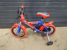 Small red Spiderman child's bike