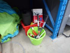 Green bucket of assorted tools and a red plastic box containing; a steamer, cable and small shredder