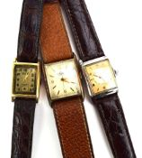 Thee gentlemen's manual wind wristwatches by Ernest Borel, Tissot and Avia,