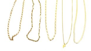 Four 9ct yellow gold necklaces, various links, overall 37.