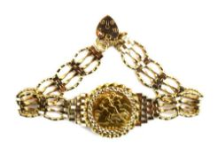 A 9ct yellow gold four bar gatelink bracelet set half sovereign dated 1982 in a loose mount,
