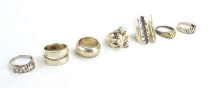 Seven late 20th century silver and metalware dress rings set pearls and cubic zirconia (7)