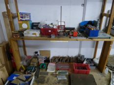 Two shelf's of engineering tooling including specialist clamps, gauges, machine tables, grinders,