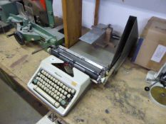 Olympia typewriter, paper guillotine and custom made model makers table