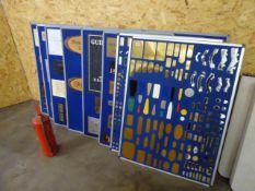 Eight pin boards displaying sample stock