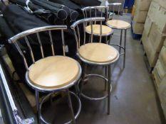 Four metal frame beech stools