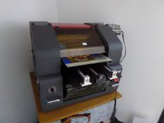 PST JET250UV inkjet flatbed printer, Year 2018, with associated PC, monitor, keyboard and mouse.