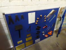 Pin board with sample tooling plus a folding workbench