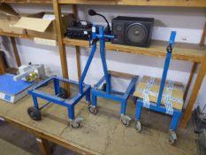 Three custom built steel trolleys on heavy duty castors