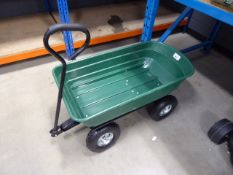 4 wheel green garden cart