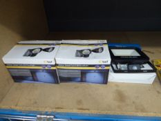2 security spotlights and LED floodlight
