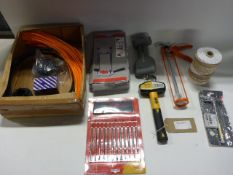 4636 Bag containing strimmer line and heads, drill stands, roughneck hammer, Amtech wax carving set,