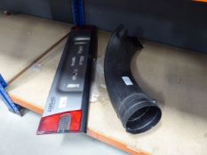 Car rear reflector panel and plastic scoop possibly for electric blow vac
